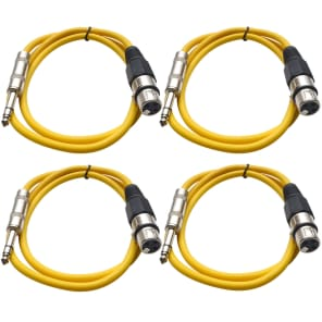 "Seismic Audio SATRXL-F2-4YELLOW 1/4"" TRS Male to XLR Female Patch Cables - 2' (4-Pack)"