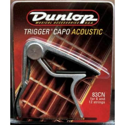 Dunlop JD-83CN Acoustic Guitar 6 Or 12 String Trigger Nickel Curved Capo for sale