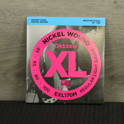 D'Addario EXL170M Nickel Wound Bass Guitar Strings Light 45-100 Medium Scale