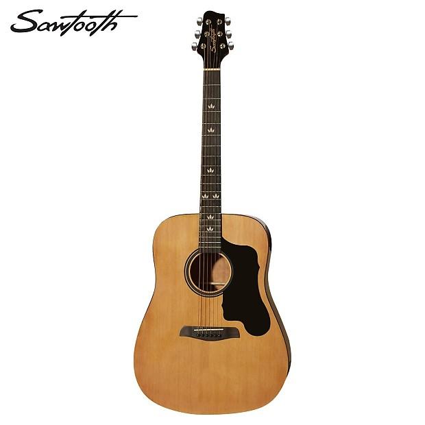 sawtooth acoustic dreadnought guitar with custom shape black reverb. Black Bedroom Furniture Sets. Home Design Ideas