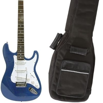 Crestwood ST920MBL Solid Body Electric Guitar, Metallic Blue (Stratocaster Style Electric Guitar) for sale