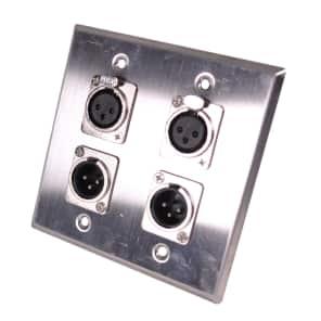 Seismic Audio SA-PLATE39 2-Gang Stainless Steel Wall Plate w/ 2 XLR Male, 2 XLR Female Metal Connectors