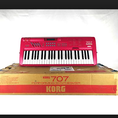 Korg 707 Digital FM Synthesizer RED super rare 1988 PINK
