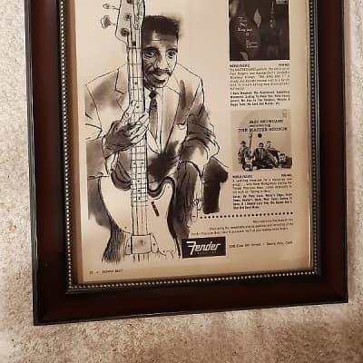1958 Fender Fender Guitars Promotional Ad Framed Fender precision Bass Monk Montgomery Original