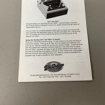 Dunlop UV-1 Univibe Owners Manual