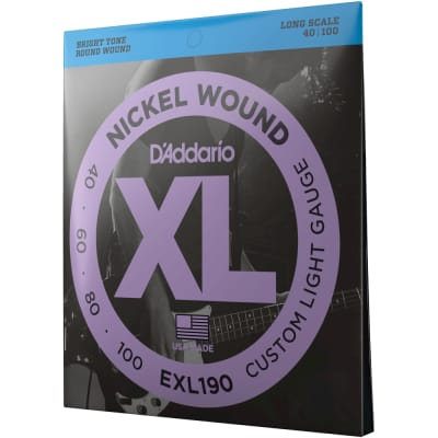 D'Addario EXL190 Custom Light, Nickel Wound Bass Guitar Strings, 40-100