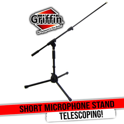 Short Microphone Stand with Boom Arm by GRIFFIN | Low Profile Tripod Mic Stand Mount for Kick Bass