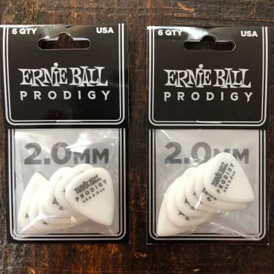 Ernie Ball 2.0mm White Standard Prodigy Picks 6 Picks PO9202 - 2 PACK