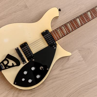 1987 Rickenbacker 620/12 BT Vintage Electric Guitar 12 String White w/ Case for sale