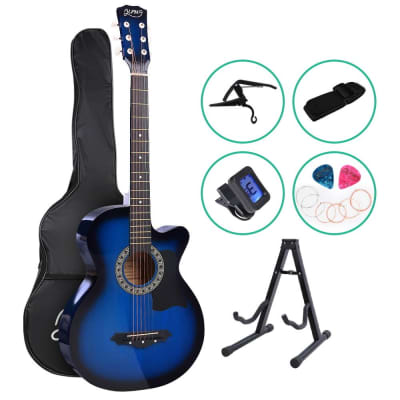 ALPHA Acoustic Folk Cutaway Guitar with Accessories set - Blue for sale