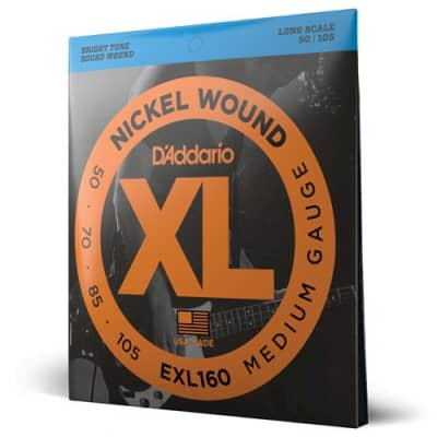 "D'Addario XL - Nickel Wound Electric Bass Guitar Strings  - Medium Gauge (50-105) - Long Scale (34"")"