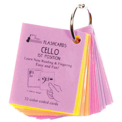 "Notes & Strings Notes & Strings Cello 1st Position 2""X2.5"" Mini-On-A-Ring Size Laminated Flashcards"