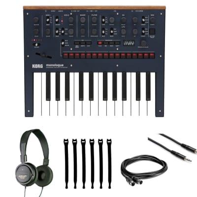 Korg Monologue 25-Key Monophonic Analog Synthesizer Blue + Headphones + Cables