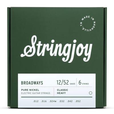 Stringjoy Broadways Classic Heavy Gauge (12-52) Pure Nickel Electric Guitar Strings