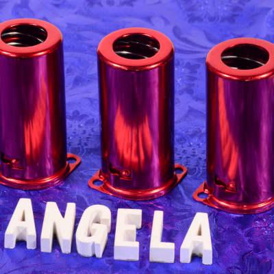 Three Red Medium Tall Nine Pin J-Slot Bayonet Twist-On Spring Loaded Tube Shields For 12AX7A, 12AT7