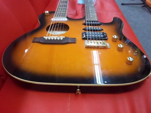 ktone double neck electric acoustic guitar sunburst new reverb. Black Bedroom Furniture Sets. Home Design Ideas