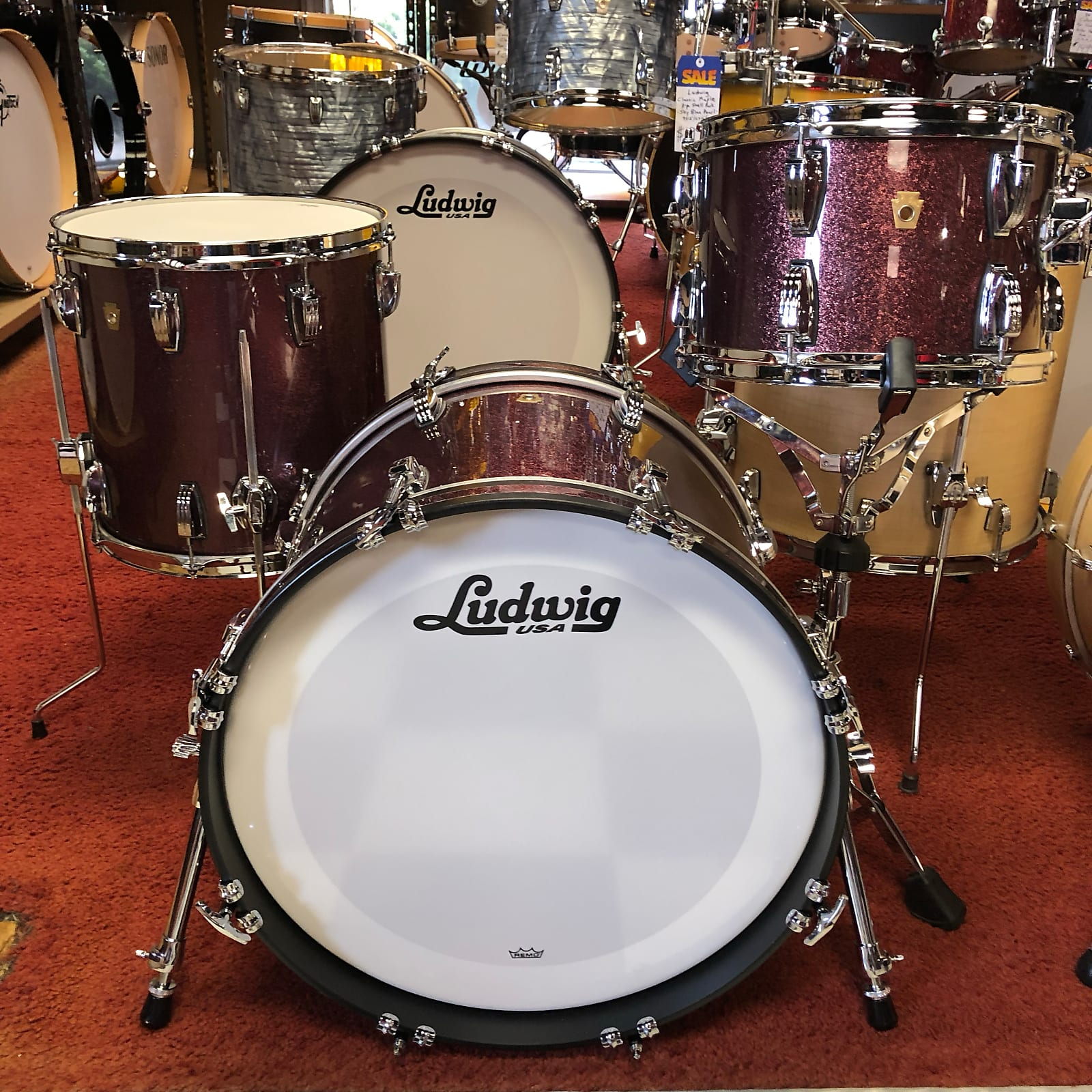 Ludwig USA Legacy Mahogany Downbeat 3-pc Shell Pack (Burgandy Mist)