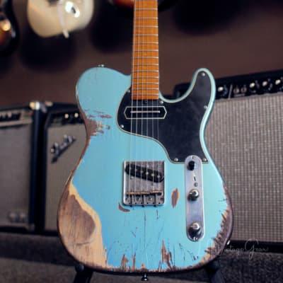 Shabat Lion GB Heavy Relic Electric Guitar - Pelham Blue Finish & Roasted Maple Neck for sale