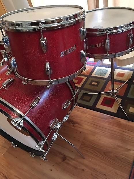 Pearl Vintage Drums 1968 Red Sparkle Reverb