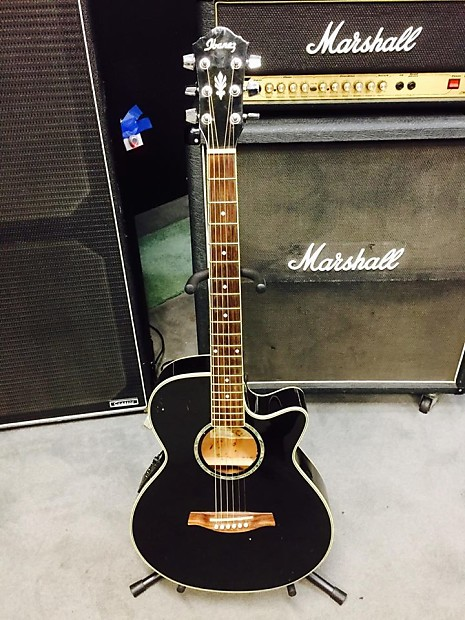 Ibanez Aeg10e Bk 14 02 Acoustic Electric Guitar Black Reverb