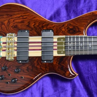 Alembic Mark King Deluxe 5-String, Cocobolo with Ebony and Front/Side Red LED's for sale