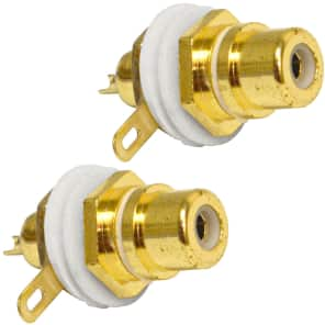 Seismic Audio SAPT230-2PACK Gold-Plated Female RCA Chassis Mount Cable Connector (Pair)