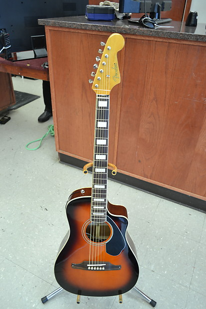 fender malibu sce 3ts 6 string acoustic electric guitar has reverb. Black Bedroom Furniture Sets. Home Design Ideas