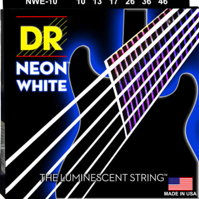 DR Strings NWE-10 Neon White Electric Strings - Medium, 10-46 for sale