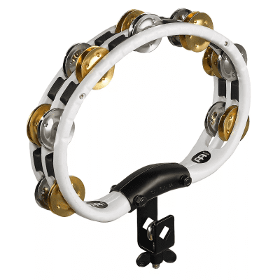 Meinl TMT2M-WH Recording Combo Mountable Tambourine with Double Row Brass/Steel Jingles