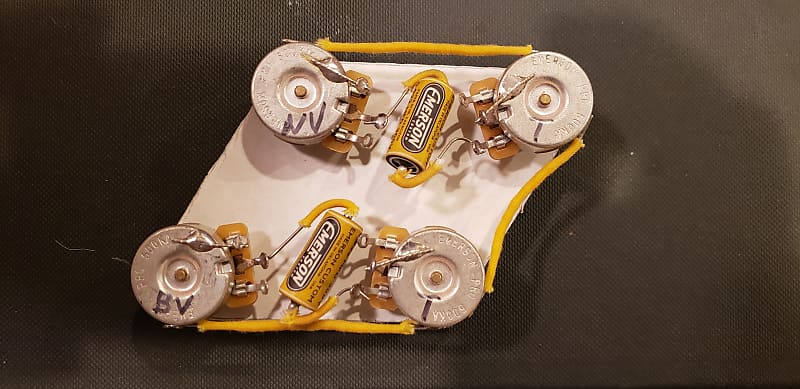 les paul wiring harness emerson pots and caps short shaft reverb
