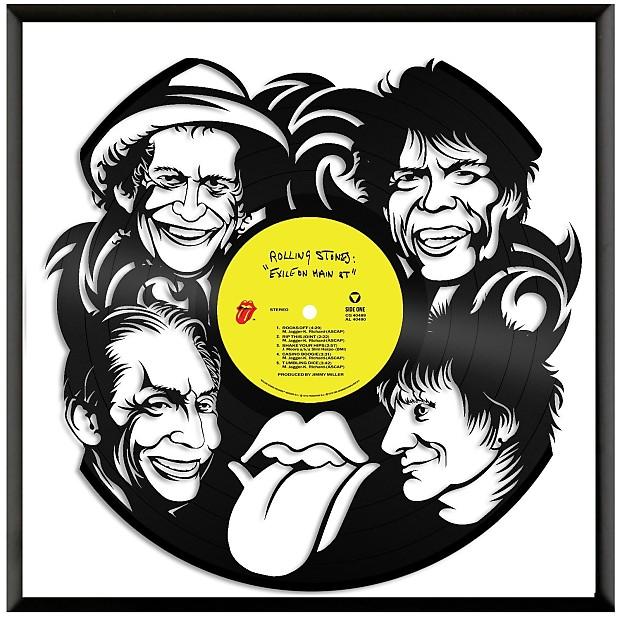 Rolling Stones Vinyl Wall Art - Natural black / Framed   Reverb