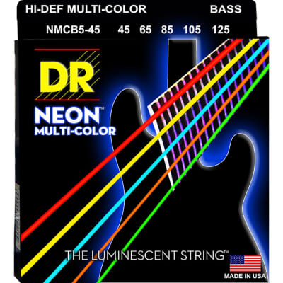 DR Electric Bass Guitar Neon Multi-Color Coated 5-String, .045 - .125, NMCB5-45