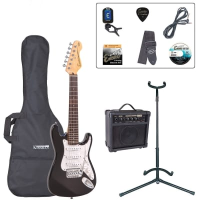 ENCORE 3/4 SIZE ELECTRIC GUITAR OUTFIT - GLOSS BLACK for sale