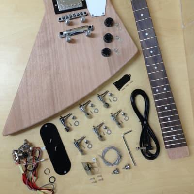 E1958 Explorer Style Electric Guitar DIY Kit,Complete No-Soldering,Mahogany Body