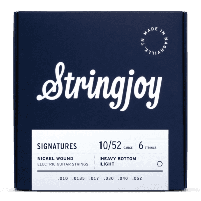 Stringjoy Signatures   Heavy Bottom Light Gauge (10-52) Nickel Wound Electric Guitar Strings