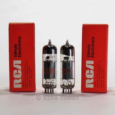True NOS NIB Matched Pair RCA Mexico 6BM8/ECL82 Gray Plate Vacuum Tubes 100%+