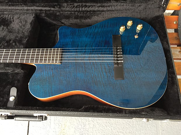 Carvin NS-1 Nylon String Classical Midi Synth Access Acoustic Electric  Guitar Gloss Flamed Maple Blu