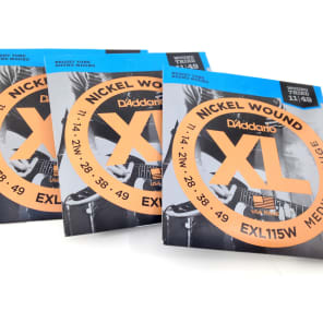 D'Addario EXL115W Electric Guitar Strings - Wound - 3 Pack