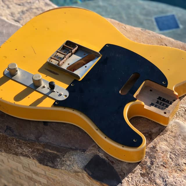 Real Life Relics Tele Telecaster Body Double Bound Aged Butterscotch Blond image