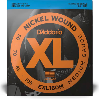 D'Addario EXL160M Nickel Wound Bass Guitar Strings Medium 50-105 Medium Scale