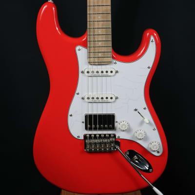 Eklien/Flaxwood Fiesta Klein Red Strat Guitar for sale