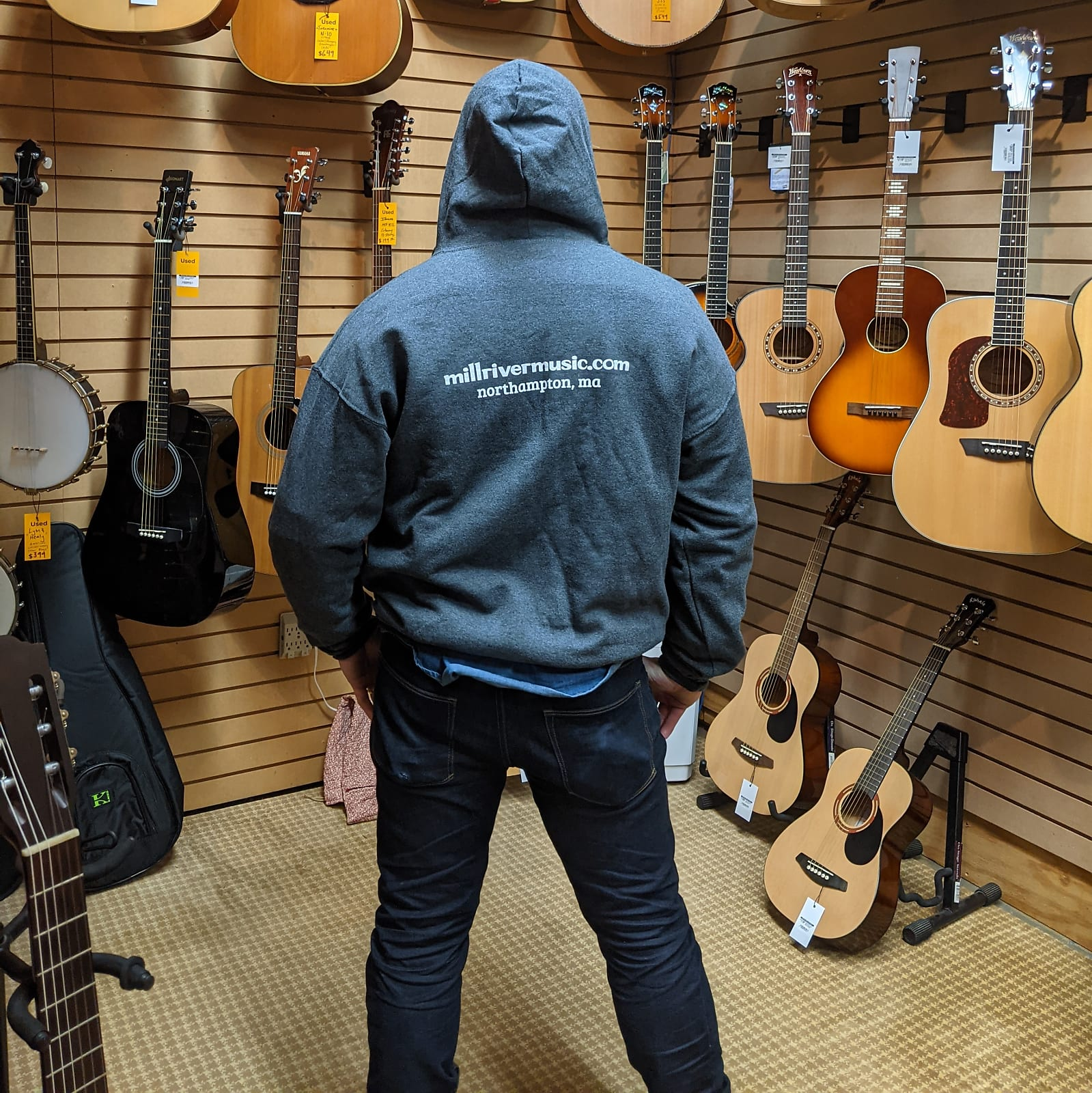 Mill River Music Zip Hoodie 1st Edition Main Logo Unisex Charcoal Heather 2XL