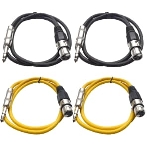 """Seismic Audio SATRXL-F2-2BLACK2YELLOW 1/4"""" TRS Male to XLR Female Patch Cables - 2' (4-Pack)"""