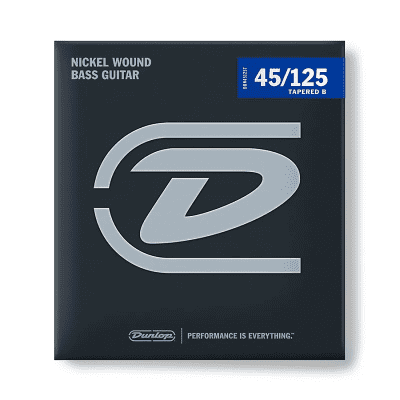 Dunlop DBN45125T Nickel-Wound Stainless Steel 5-String Bass Strings with Tapered B (45-125)