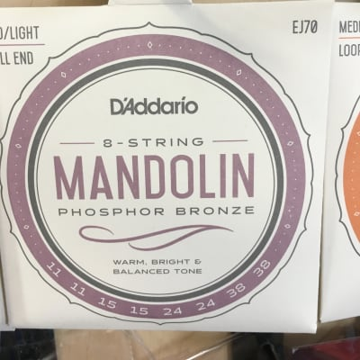 D'Addario EJ70 Phosphor Bronze Mandolin Strings Ball End  Medium/Light 11-38