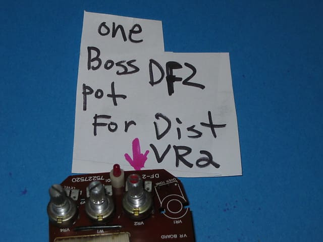 one used vintage genuine Boss DIST (VR2) pot potentiometer from for DF2  pedal DF-2, M250k A, 1980'S