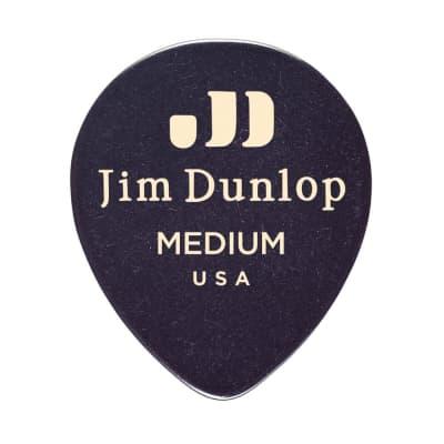 Dunlop 485R03MD Celluloid Black Teardrop Medium Guitar Picks (12-Pack)