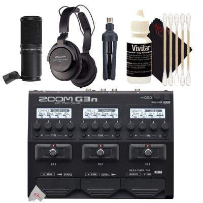 Zoom G3n Multi-Effects Pedal Processor For Electric Guitar + Zoom ZDM-1 Podcast Mic Pack Accessory Bundle + 3pc Cleaning Kit