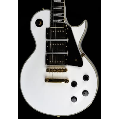 Vintage V1003 AW 3 Pickup Electric Guitar in Arctic White with Slight Damage for sale