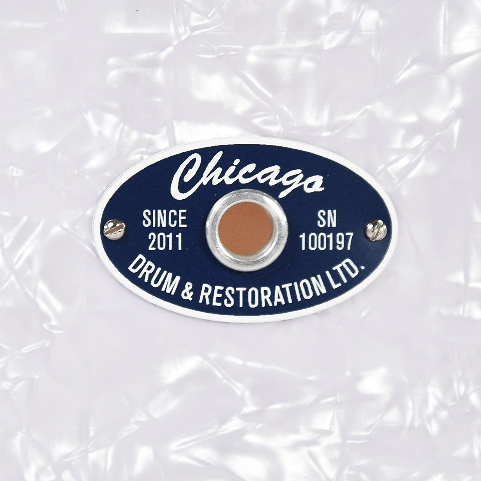 Chicago Drum & Restoration 6.5x14 LTD Chicago King Maple Snare Drum Blue White Marine Pearl